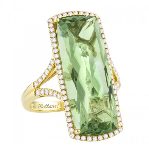14kt Yellow Gold Diamonds 0.51ct, Prasiolite 15.15ct